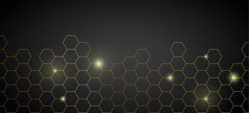 Fundo técnico brilhante do favo de mel dourado ilustração stock