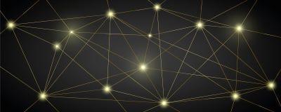 Fundo técnico luxuoso de rede digital do ouro ilustração do vetor