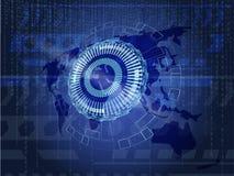 Fundo tecnologico da informação com terra e código binário ilustração do vetor