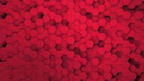 Fundo tecnologico do fundo abstrato do teste padrão do hexágono da tecnologia do scifi feito dos redhexagons com efeito 4k do ful ilustração stock