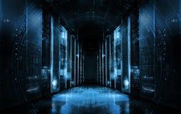 Fundo tecnologico em servidores no centro de dados, projeto futurista Sala do servidor representada por diversas cremalheiras do  ilustração royalty free