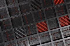 Fundo tecnologico ou industrial futurista feito da grelha escovada do metal com linhas e elementos de incandescência Fotografia de Stock Royalty Free