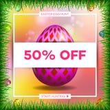 Fundo template_7 da bandeira da venda do ovo da páscoa Foto de Stock