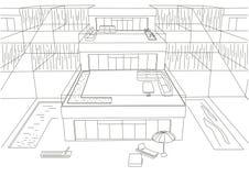 Fundo terraced do branco das casas do esboço arquitetónico linear Imagem de Stock