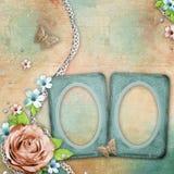 Fundo textured vintage com frames velhos da foto Fotos de Stock Royalty Free