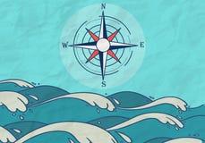 Fundo tirado mão do compasso do mar Imagens de Stock Royalty Free