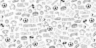 Fundo tirado mão do futebol ou do futebol da garatuja elementos Ilustração do vetor ilustração royalty free