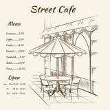 Fundo tirado mão do café da rua Imagens de Stock Royalty Free
