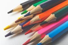 Fundo tonificado de lápis coloridos no Livro Branco Imagem de Stock Royalty Free