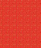 Fundo tradicional chinês do teste padrão da espiral do quadrado do tracery da janela do vintage sem emenda dourado Imagens de Stock