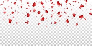 Fundo transparente branco isolado confetes de queda do coração Cora??es vermelhos da queda Decora??o de Valentine Day Elemento do ilustração royalty free