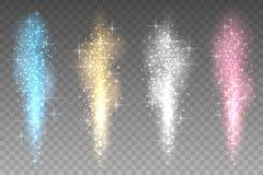 Fundo transparente das luzes dos fogos-de-artifício Jato brilhante acima da ilustração do vetor dos raios das faíscas ilustração royalty free