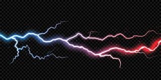 Fundo transparente do vetor da luz da tempestade do raio da faísca do flash da eletricidade do parafuso de trovão do relâmpago ilustração do vetor
