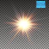 Fundo transparente Ilustração do sol de incandescência realístico, explosão do vetor da estrela ilustração do vetor