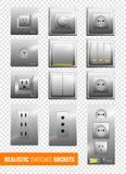 Fundo transparente realístico dos interruptores e dos soquetes ilustração stock