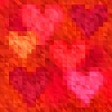 Fundo triangular vermelho brilhante do sumário com seis formas do coração ilustração stock