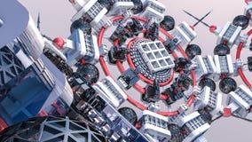 Fundo tridimensional futurista do sumário das formas 3d diferentes 3d rendem foto de stock