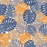 Fundo tropical com folhas de palmeira Teste padrão floral sem emenda S Foto de Stock