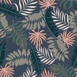 Fundo tropical com folhas de palmeira Teste padrão floral sem emenda S Imagens de Stock