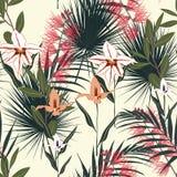 Fundo tropical com plantas da selva O teste padrão tropical do vetor sem emenda com folhas de palmeira e orquídea e protea exótic ilustração do vetor