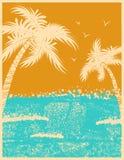 Fundo tropical das palmas com ondas de oceano ilustração royalty free