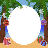 Fundo tropical do ano novo para o texto com palmeiras Imagens de Stock Royalty Free