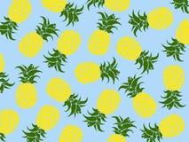Fundo tropical do vetor de abacaxis amarelos com fundo azul como o vetor para praias e todos os testes padrões do verão illust do ilustração royalty free