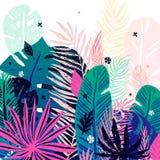 Fundo tropical na moda multicolorido, folhas exóticas Ilustração botânica do vetor, elementos para o projeto Imagens de Stock Royalty Free