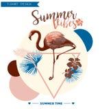 Fundo tropical Projeto do verão Gráfico de vetor da forma do t-shirt da menina Imagens de Stock Royalty Free