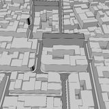 Fundo urbano da vista aérea da cidade dos desenhos animados Fotografia de Stock Royalty Free