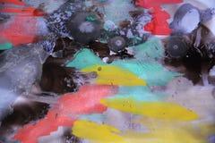 Fundo vívido da pintura da aquarela e cera azul Fotos de Stock Royalty Free