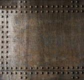 Fundo velho da armadura do metal com rebites Imagem de Stock Royalty Free