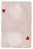 Fundo velho do cartão de jogo do grunge com dois corações Fotografia de Stock Royalty Free