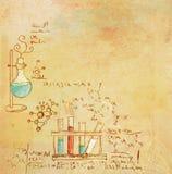 Fundo velho do laboratório de química ilustração do vetor