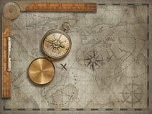 Fundo velho do mapa com compasso e régua Conceito da aventura e do curso ilustração 3D foto de stock royalty free