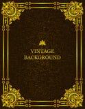 Fundo velho do vintage do vetor com quadro real do teste padrão do ouro como um molde para criar as capas do livro Modelo, ilustr ilustração royalty free