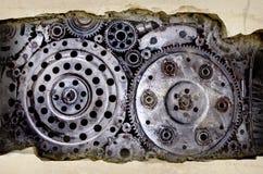 Fundo velho e sujo da solda da engrenagem da roda do metal Fotografia de Stock Royalty Free