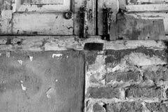 Fundo velho preto e branco da parede de tijolos Fotografia de Stock