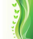 Fundo verde abstrato com borboletas Imagens de Stock