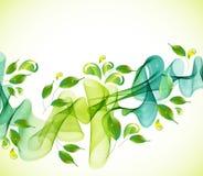 Fundo verde abstrato com onda e gotas Imagens de Stock Royalty Free