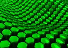 Fundo verde abstrato lustroso dos hexágonos Fotos de Stock Royalty Free