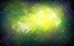 Fundo verde, amarelo, preto da ilustração do espaço com estrelas brancas brilhantes foto de stock