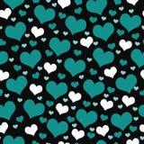 Fundo verde, branco e preto da repetição do teste padrão da telha dos corações ilustração do vetor