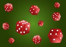 Fundo verde clássico do pôquer do casino Dados vermelhos de queda, isolados Conceito do jogo Ilustra??o do vetor ilustração do vetor
