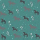 Fundo verde com cavalos Imagem de Stock