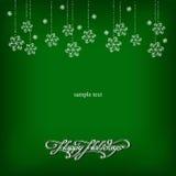 Fundo verde com flocos de neve Imagens de Stock Royalty Free