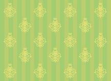 Fundo verde com listras e monogramas Imagens de Stock Royalty Free