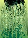 Fundo verde com o vidro molhado Ilustração Stock