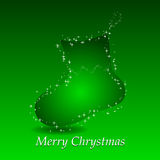 Fundo verde com a peúga do presente do Natal Foto de Stock Royalty Free