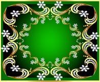 Fundo verde com teste padrão e pérola do ouro (en) ilustração do vetor